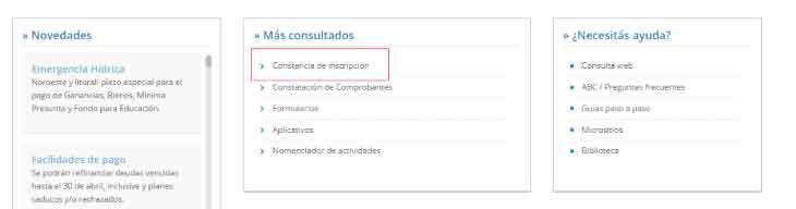 Constancia de CUIT. Acceso desde web AFIP.